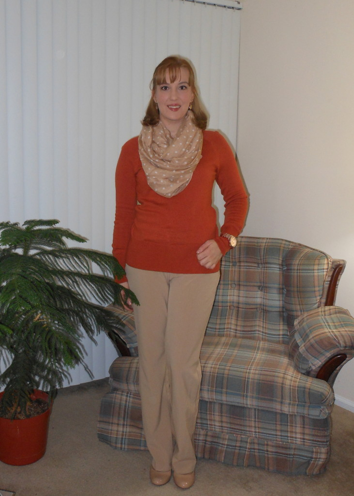 Orange sweater: Target. Polka dot infinity scarf: NY & Co. (gift). Gold earrings: Wal-Mart ? Khaki pants: NY & Co. (thrifted.) Rose gold watch: Target. Nude pumps: Target.