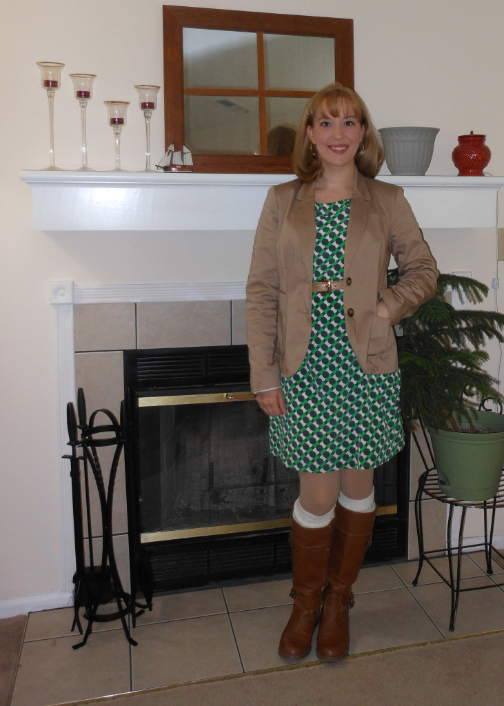 "Khaki blazer: Wal-Mart. Gold hoop earrings: Target. Green and Blue polka dot dress: Old Navy. Tan belt"" (thrifted.) Bangle: Versona. Gold Watch: Target. Cream knee socks: Dots. Brown boots: Old Navy."