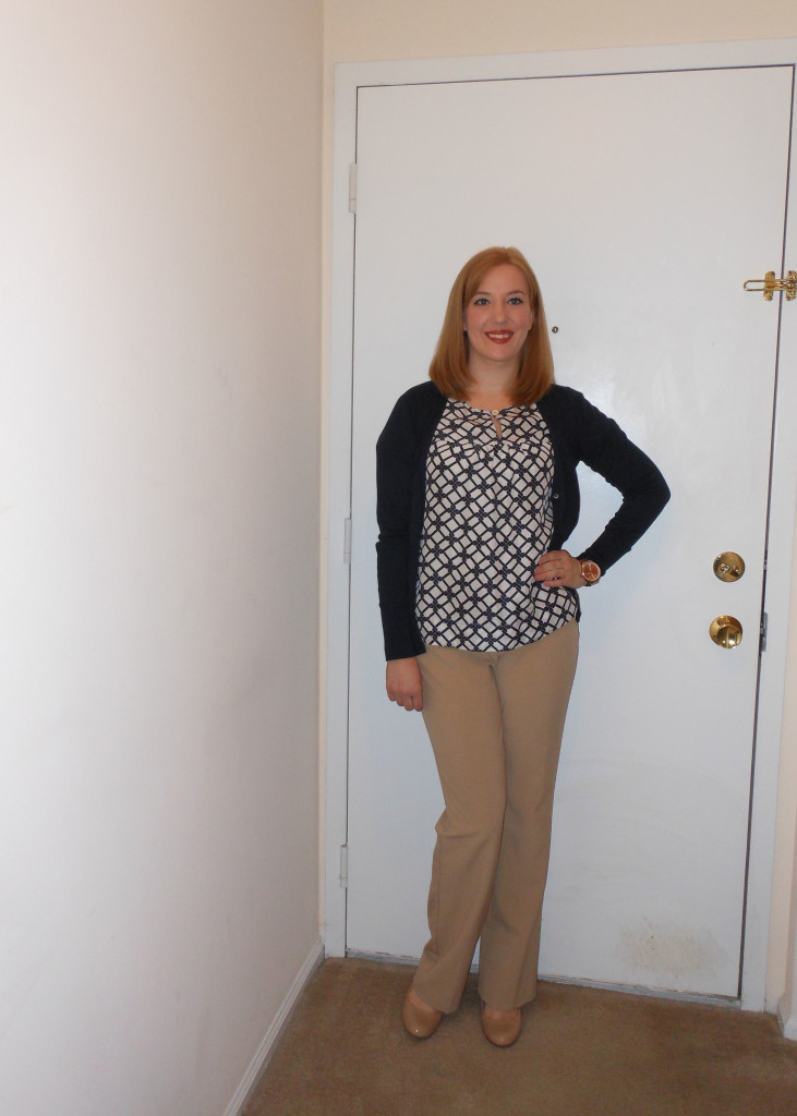 Navy cardigan: Old Navy. Printed blouse: (thrifted.) Khaki trousers: (thrifted.) Nude pumps: Target. Gold watch: Target.