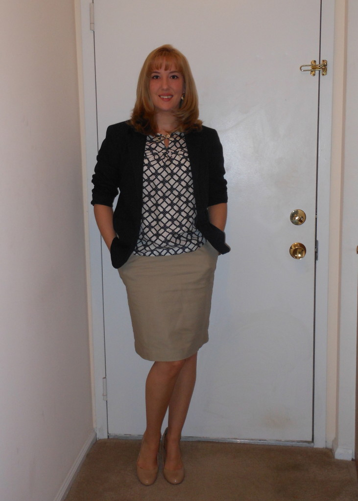 Navy blazer: (thrifted.) Abstract print blouse: (thrifted.) Gold earrings: Target. Gold watch: Target. khaki skirt: Target. Nude pumps: Target. Gold chain necklace: Wal-Mart.