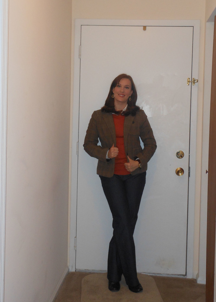 Brown blazer: (thrifted.) Orange sweater: Target. White button up: JCP. Denim trousers: Target. Tortoise shell watch: Florida. Gold earrings: Wal-Mart (?). Brown shoes: Mudd.