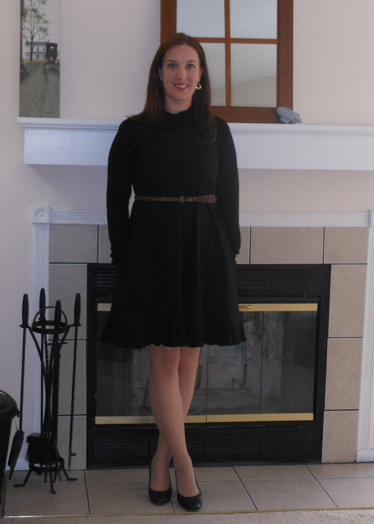 Black dress: Old Navy. Black turtleneck: Elder Beerman. Leopard belt: gift. Black pumps: Payless. Watch: