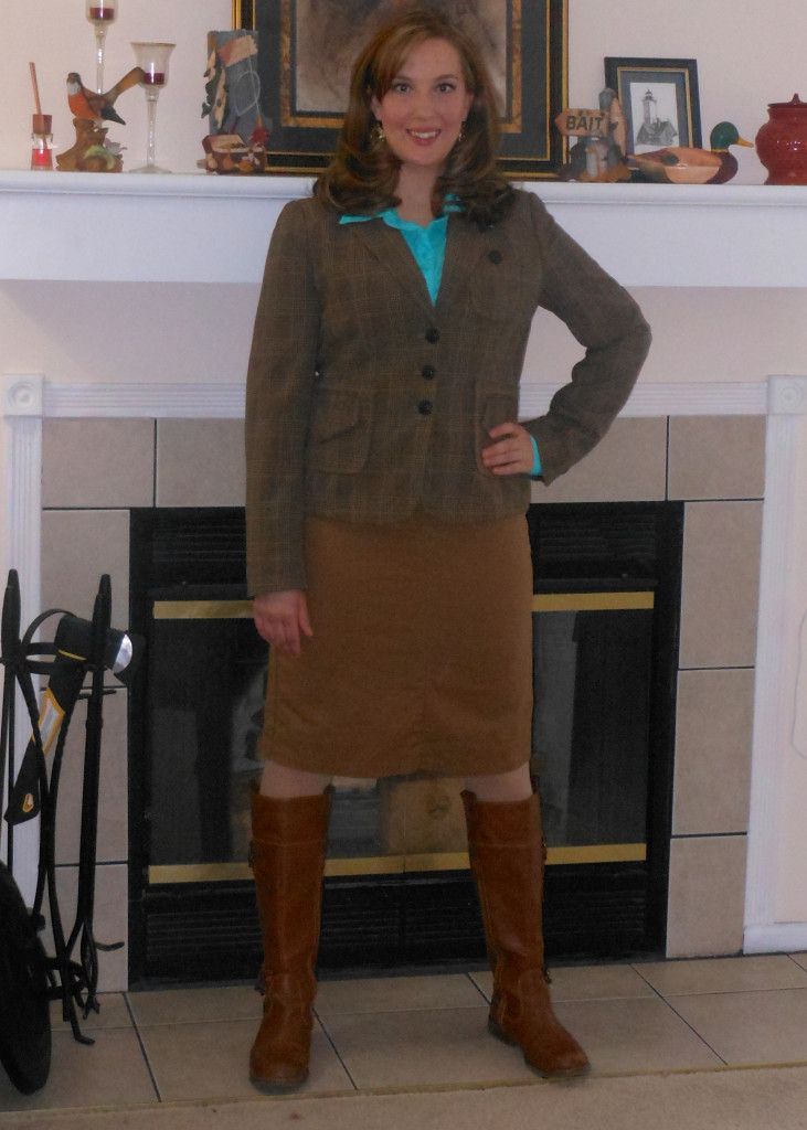 Turquoise silky button up: Wal-Mart. Brown blazer: (thrifted._ Khaki skirt: (thrifted.) Brown boots: Old Navy.