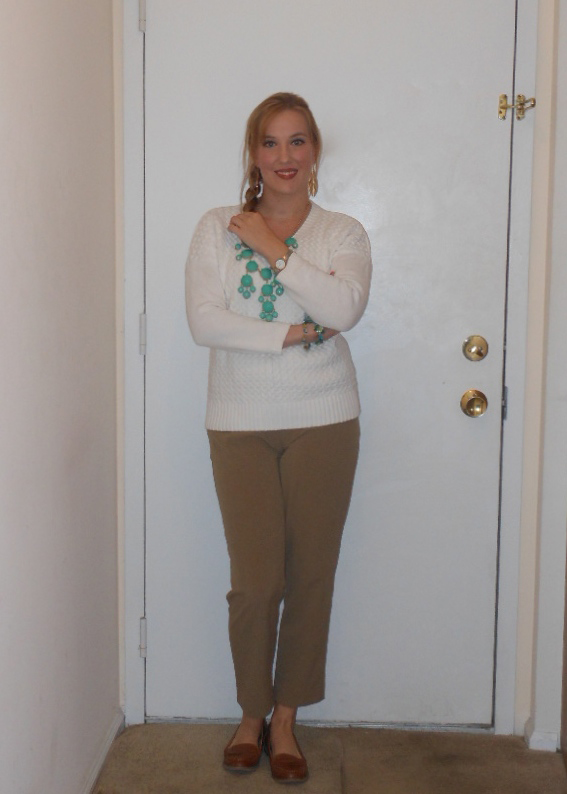 White sweater: gift. Turquoise bubble necklace: Ebay. Bracelets: gift. Gold watch: Wal-Mart. Khaki ankle length pants: Wal-Mart. Penny loafres: Old Navy.