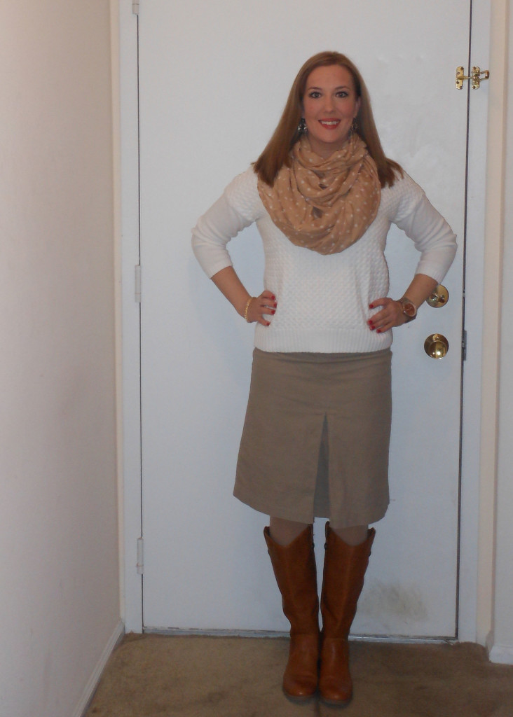 White sweater: gift. Infinity scarf: NY&Co. (gift.) Gold watch: Target. Gold earrings: Wal-Mart. Gold bracelet: Versona. Khaki skirt: thrifted. Nude tights: Wal-Mart. Tan riding boots: Target.