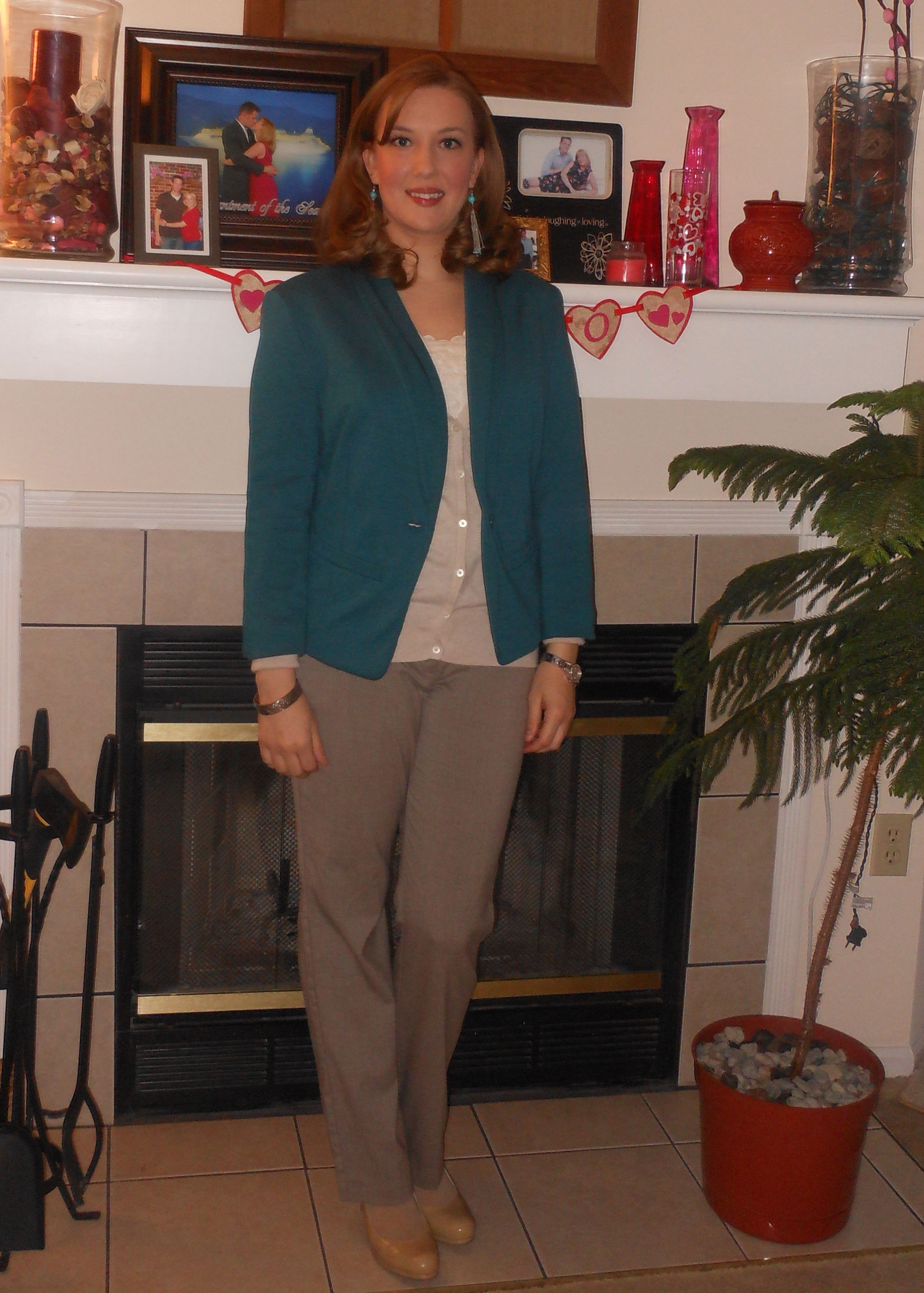 Teal blazer: Target. Turquoise and silver earrings: Wal-Mart. Cream cami: gift. Oatmeal cardigan: Old Navy. Silver bracelet: gift. Silver watch: Fossil. Tan trousers: NY&Co. Nude pumps: Wal-Mart.