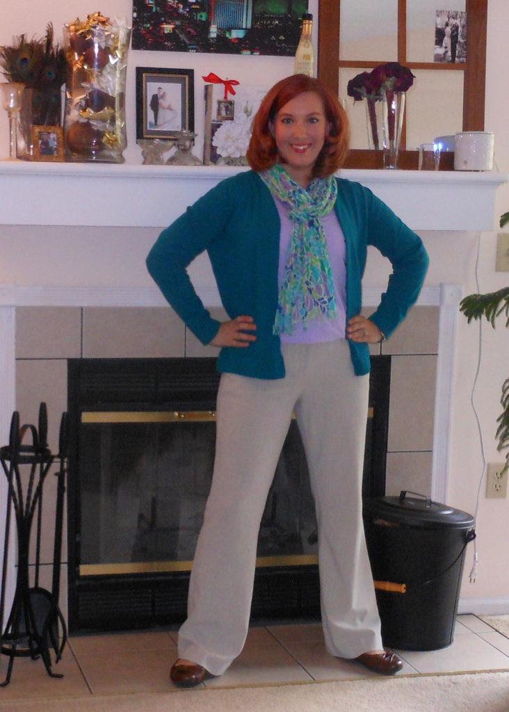 teal cardigan, lavender t-shirt, scarf, khaki pants, brown ballet flats